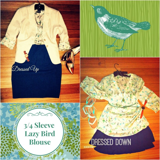 Purchased: 3/4 sleeve sheer bird print shirt. ON SALE! Paired with : (L) slate blue pencil skirt, khaki blazer, rose gold heels. (R) worn like a baggy sundress over a navy chiffon skirt, mint sandals, mint belt, leather watch.