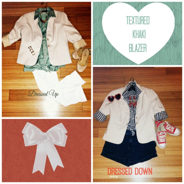 Purchased Khaki Textured Blazer, Paired with: (L) 678 White Hot Skinnys, Green Patterned tie front top, nude flats (R) Navy Gingham Button Down, Red Statement Necklace, Heart Sunnies, Red Chucks, High-Waisted Dark wash Levi Strauss Denim Shorts