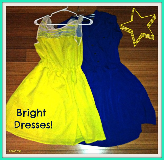 Awesome for any day of the week. Yellow Dress: Dillards $20 (sale) Colbalt Dress: Ross $12