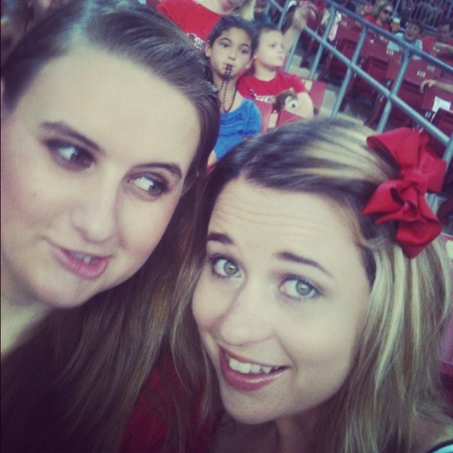 My sister and I being silly. Big red bow I used A LOT