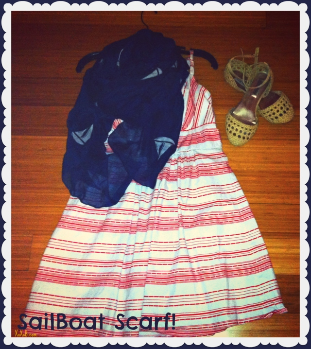 Sailboat Scarf: Francesca's Collections $18, Shoes: Steve Madden $50, Dress: Thrifted $5