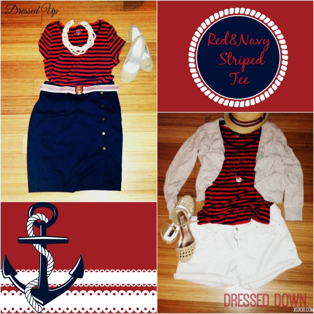 Purchased: $12 Luxe Fit Navy/Red Striped Tee. Paired with: (L) Navy Ponte Pencil Skirt, Prep Club Stretch Belt, Nude Peeptoes, Giant Pearls. (R) Laid Back Khaki Cardi, Striped Band Fedora, Steve Madden Flats, White Denim Shorts, Anchor Pendant