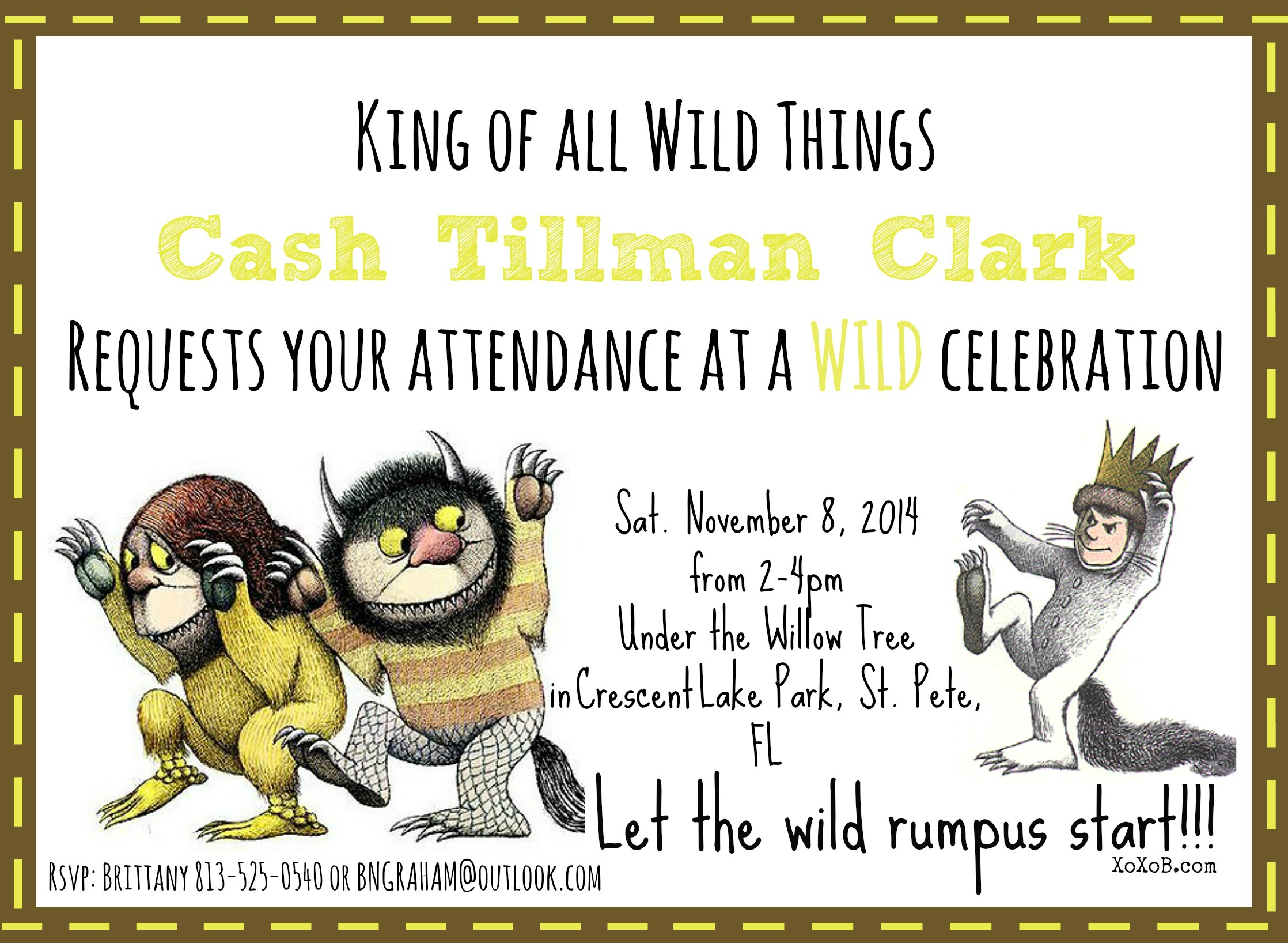 Where the Wild Things are Cashs 1st Birthday XoXoB